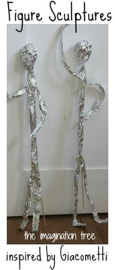 Giacometti Inspired Figure Sculptures using aluminum foil. What a fun art project for kids from The Imagination Tree!!