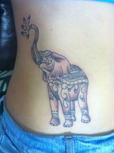 Elephant tattoo! Placement on hips/lower ribs
