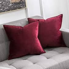 MIULEE Pack of 2 Decorative Velvet Throw Pillow Cover Soft Pillowcase Solid Square Cushion Case for Sofa Bedroom Car Inch Wine Red Red Pillows, Cushions On Sofa, Decorative Throw Pillows, Blue Pillow Covers, Throw Pillow Cases, Geometric Cushions, Bedroom Sofa, Velvet Cushions, Home Decor