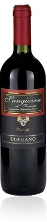 """Sangiovese di Toscana I.G.T. """"Prestige""""  Country : Italy  Region : Tuscany  Winery Name : Uggiano  GRAPES VARIETY: 100% Sangiovese  ALCOHOL: 12,5 % by Vol.  SERVING TEMPERATURE: 18/20°C  Tasting Notes: Fragrant and persisting bouquet which reminds of the cherries and the violet flowers. Dry, soft and well-balanced on the palate, with a persisting aftertaste."""