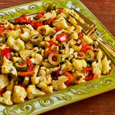 Cauliflower side dish - uses Pine Nuts, Capers, Green Olives and Roasted Peppers!!