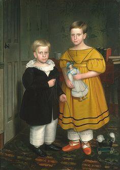 The Raymond Children, ca. 1838  Robert Peckham (American, 1785–1877)  Oil on canvas    55 1/4 x 39 in. (140.3 x 99 cm)  Gift of Edgar William and Bernice Chrysler Garbisch, 1966 (66.242.27)