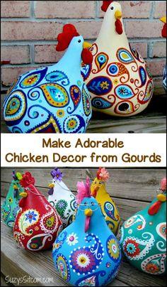 Make fun and adorable chicken decor for your garden using gourds!