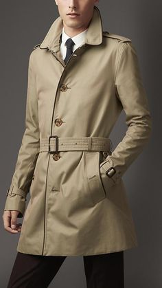 Burberry Mid-Length Leather Trim Gabardine Trench Coat