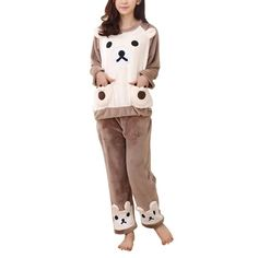 9221eec5d60 Autumn Winter Women Sleepwears Warm Flannel Pajama Set Sleepwear Lovely  Bear Printed Long Sleeve Top
