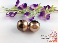 """2 Glaswachsperlen """"20mm Braun-Beige"""" #6461 von Hobby-Fun-Creativwelt auf DaWanda.com"""