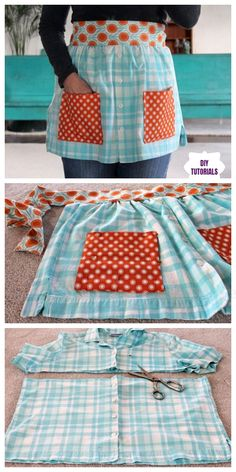 Oct 2019 - DIY Repurposed Apron From Shirts Free Sewing Patterns And Instructions Source by fabricartdiy Sewing Aprons, Sewing Clothes, Diy Clothes, Sewing Shirts, Barbie Clothes, Easy Sewing Projects, Sewing Projects For Beginners, Sewing Crafts, Sewing Tips