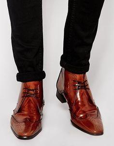 Jeffery West Brogue Short Boots - Brown