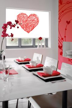 Red interior design. Dining room