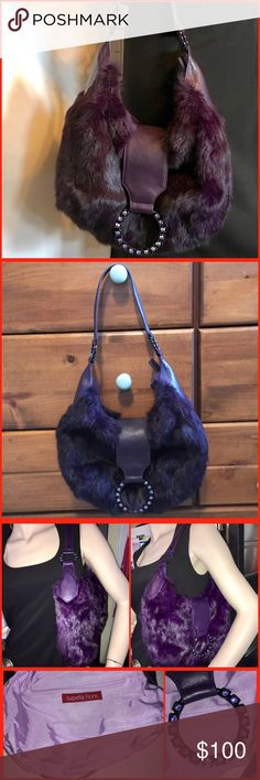 Isabella Fiore fur shoulder bag The bag is dark purple and beautiful.  It is real fur, probably rabbit.  Small amount of wear to fur on back.  Inside is spotless and there is no spots or rips. Isabella Fiore Bags Shoulder Bags
