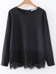 SheIn offers Black Contrast Lace Hem Chiffon Blouse & more to fit your fashionable needs. Blouse Styles, Blouse Designs, Hijab Fashion, Fashion Dresses, Looks Chic, Mode Hijab, Blouse Dress, European Fashion, European Style