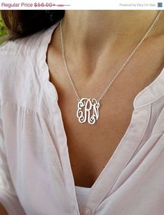 Valentine 50% Best Sale Monogram Initial necklace - Personalized Monogram - 925 Sterling Silver, Personalized Jewelry