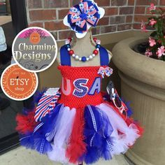 Inspiration for outfit   READY 5 piece Patriotic USA themed TuTu Dress by CharmCreated