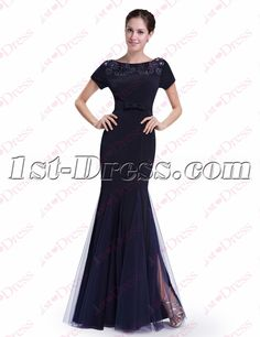 1st-dress.com Offers High Quality Classic Navy Blue Sheath Prom Dress with Short Sleeves,Priced At Only US$165.00 (Free Shipping)