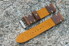Leather watch strap 22mm. Handmade. Vintage style .Made of