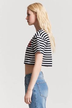 Product Name:Stripe Danger Girls Graphic Crop Tee, Category:top_blouses, Price:10.9