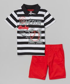 Look at this Black Stripe Polo & Red Shorts - Infant, Toddler & Boys on #zulily today!