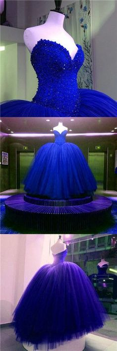 Royal Blue Prom Dresses,prom gown,tulle long prom dress,ball gown evening dress princess graduation dresses for teens