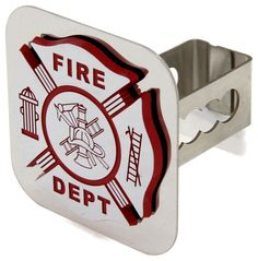 """Show your support for our flame-fighting heroes and protect your hitch receiver at the same time. The chrome-plated metal emblem is etched with """"Fire Dept"""" and symbols of the trade, and it is mounted on a rustproof stainless steel base."""