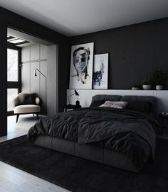 Best Modern And Minimalist Bedroom Design Ideas Black Bedroom Design, Black Interior Design, Home Room Design, Bed Design, Bedroom Black, Bedroom Designs, Dark Cozy Bedroom, Modern Interior, Swedish Bedroom