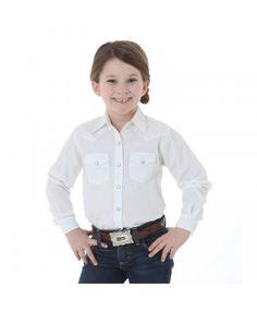 Wrangler Girls' Long Sleeve White Shirt