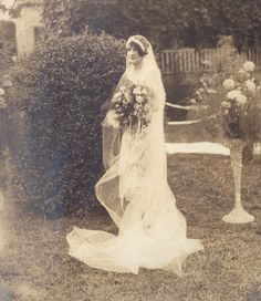 Cornelia Milam married Leslie Gladstone McCraw - June 15, 1928 - Sandy Springs, SC - Wedding Dress by Hattie Pickett Milam - Cream silk chiffon with lace yoke and lace ruffles around the skirt and overskirt
