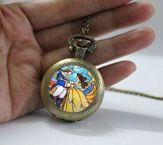 Beauty and the Beast Pocket Watch, Flowers Rose pendant Locket necklace, Pocket Watch Jewelry ,Pocket Watch