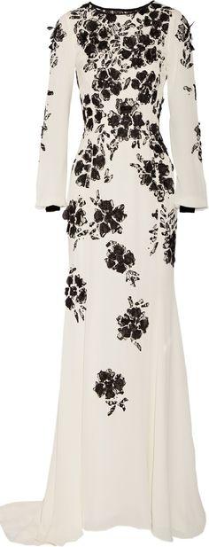 OSCAR DE LA RENTA Floral-appliquéd silk-crepe gown