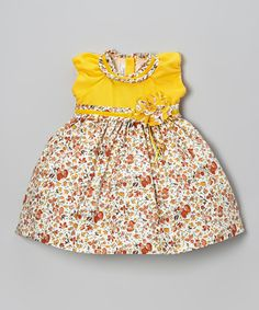 Loving this Yellow Floral Puff-Sleeve Dress - Infant & Toddler on #zulily! #zulilyfinds