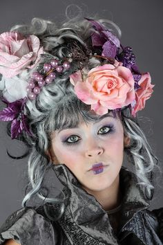 Hair/Fantasy- the shortening of the lips, the eye makeup drifting into the cheeks and gaudiness of the hair all tie in with a cool pink color palette. Mom Dress, Living Dolls, Portraits, Baroque, Marie Antoinette, Hair Art, Headdress, Masquerade, Her Hair