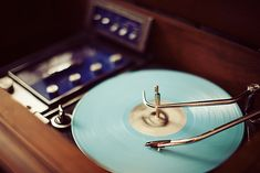turntable and blue record