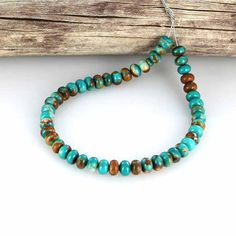 """FOX TURQUOISE BEADS 6mm Teal Golden Rondelle 8"""""""