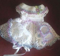 Crochet White Pretty Frock For New Born With Booties Baby Girl Crochet, Crochet Baby Shoes, Crochet Baby Clothes, Crochet For Kids, Crochet Dresses, Crochet Cupcake, Booties Crochet, Baby Clothes Patterns, Baby Patterns