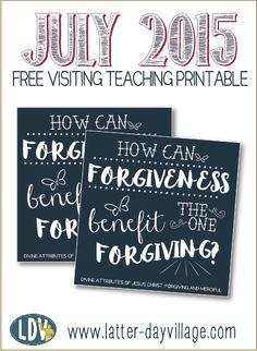 July 2015 FREE Visiting Teaching Printable Handouts