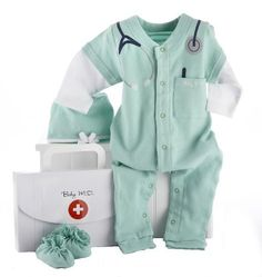 "Baby Aspen Big Dreamzzz Baby M.D. Layette Set with Gift Box, Green, 0-6 Months by Baby Aspen. $21.52. From the Manufacturer                Calling all newborn medical professionals, STAT Baby Aspen introduces Baby MD, a whimsically-cozy doctor's outfit for your own aspiring MD. Complete with a toasty warm surgical cap and ""hospital booties"", this soft, green sleeper sports a stethoscope graphic casually slung around the neck, and an embroidered pocket with pen to wri..."