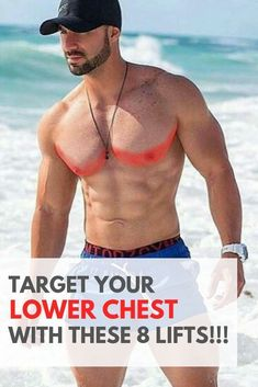 """The lower chest is an area men and women don't focus a lot of their time on! This area is important to hit so that you develop the """"lower chest line"""" … – Fitness Pec Workouts, Lower Ab Workouts, Weight Training Workouts, Triceps Workout, Men's Chest Workouts, Bike Workouts, Swimming Workouts, Swimming Tips, Muscle Building Workouts"""
