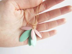 SweetMint Enamel and Goldplated Necklace por PolariteShop en Etsy
