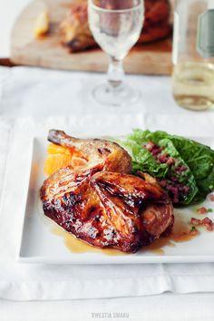 Roasted guinea fowl in a honey-orange glazed