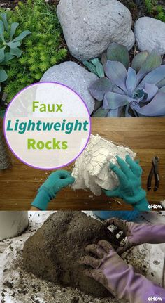 Hypertufa is a process of making, by hand, a faux rock that closely resembles tufa, which is volcanic rock. This process creates a lightweight faux rock that can be any shape or size. Fake Landscape Rocks, Landscaping With Rocks, Backyard Landscaping, Tropical Landscaping, Landscaping Ideas, Backyard Ideas, Garden Crafts, Garden Art, Garden Design