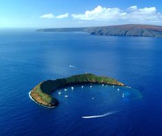 Molokini Crater in Hawaii, I've snorkeled here! :)