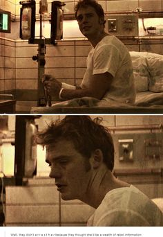 Ahhh this scene. Finnick tying his knots and telling Katniss that Annie is in… Hunger Games Humor, Hunger Games Catching Fire, Hunger Games Trilogy, Finnick And Annie, Hunter Games, I Volunteer As Tribute, Katniss Everdeen, Mockingjay, Book Fandoms