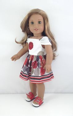 "18T Sweet & Sassy - Sundress and Sandals for 18"" Dolls like American Girl (R) Dolls like Lea, Tenney, Grace, Kit, Saige, Rebecca and McKenna by MjsDollBoutique18T on Etsy"