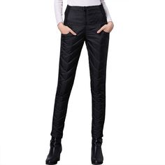 Rainwater-Shop Woman Skinny Black Pants Zipper Fly Buckle Full Length Leggings High Waist Streetwear Pencil Pants