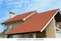 Modern House With Chimney Red Clay Tiled Roof Rain Gutter And Gable And Valley Type Of Roof Constructio Shed Roof Design Roofing Commercial Roofing