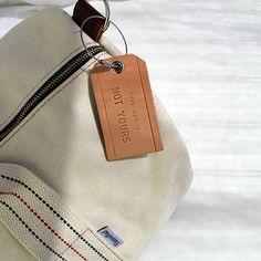 Natural Leather Luggage Tag with Natural Canvas Duffel by Owen & Fred #men #style #travel