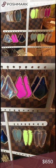 Kendra Scott lot of earrings. All authentic. Kendra Scott lot of earrings. Price is for the entire lot or I will sell individually for ? each. Some wear but in good condition. All authentic and will come with KS bag.  **pink agate are sold** **mother of pearl are sold**. **neon yellow skylars are sold** Kendra Scott Jewelry Earrings