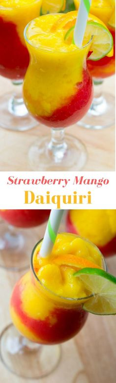If you love tropical fruit flavors, you've got to try this frozen Strawberry Mango Daiquiri! With layers of blended strawberry and mango, it's a great refreshing summer cocktail! Add rum for a classic daiquiri or leave it out for a virgin daiquiri the who Smoothie Drinks, Smoothie Recipes, Smoothies, Drink Recipes, Strawberry Mango Daiquiri Recipe, Mango Fruit, Fun Drinks, Yummy Drinks, Alcoholic Beverages