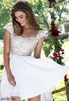 Beautiful white short prom Dress Sherri Hill 2016