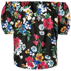 Piamita off-shoulders floral blouse ($410) ❤ liked on Polyvore featuring tops, blouses, black, colorful blouses, silk blouse, multi color blouse, floral tops and floral print blouse