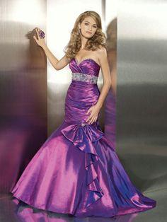 Vestido De Noche Violeta de Tafetán de Sirena de Hasta suelo de Escote Corazón Con Rosarios at pickedlook.com